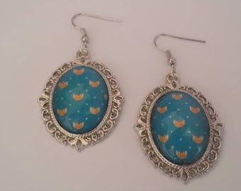 Earrings cabochon blue Fox cabochon chandelier dangling earrings