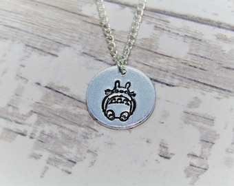 Totoro Inspired - Hand Stamped Pendant Necklace, Studio Ghibli, My Neighbour Totoro, Soot Sprite, No Face, Anime