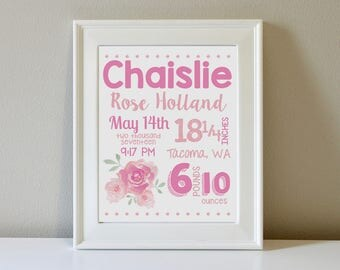 Personalized Flower Birth Announcement