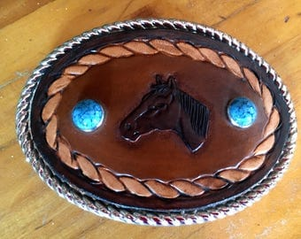 Horse Leather Belt Buckle with turquoise rivets