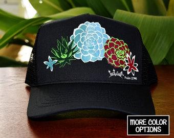 Succulent Garden Trucker Hat / cap,  hat, Christian hat, Christian apparel, women's hat, women's trucker hat, Christian trucker hat