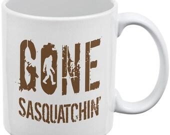Gone Sasquatchin' White All Over Coffee Mug