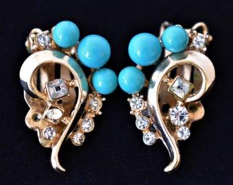 "Vintage Ornate Blue Beaded Earrings Clip On Delicate Retro Mid Century Retro Costume Estate Wedding Jewelry 1"""