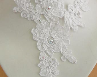 White lace bridal wedding necklace