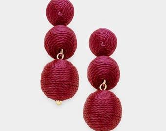 Bon Bon Earrings, Les Bonbons Earrings, Double Ball Earrings, Mini Bon Bon Earrings, Burgundy Wine Bon Bon Earrings