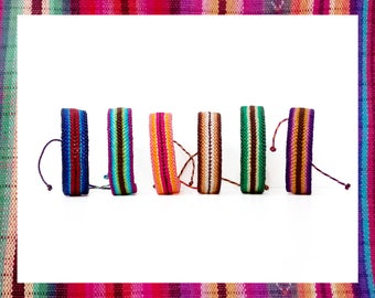 Guatemalan Woven Friendship Bracelet Mexican Mayan fabric stripes lines colorful rainbow native tribal ethnic waterproof - Q'enqo Bracelets