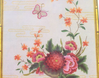 Elsa Williams Asian Floral on Champagne Satin Crewel Kit Metallic & Silk Threads