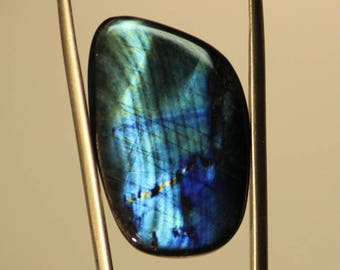21,99 cts - Spectrolite de Finlande - Ylämaa - cabochon - labradorite gemme wrap silver bezel sertir bijoutier joaillier