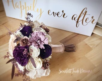Romantic Bouquet Wedding Theme Plum Mauve Rose Gold
