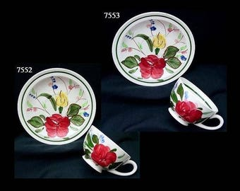 TWO Blue Ridge Cups + Saucers ENGLISH GARDEN Teacup Set (Lot of 2) Southern Potteries Astor Dinnerware Red Rose (B21) 7552 7553