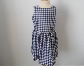 Navy gingham dress, 6 years