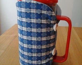 Cafetiere cosy, coffee pot cosy, cafetiere, cosy, coffee cosy, blue and white