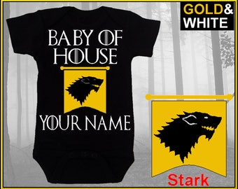 House of Stark, Game of Thrones onesie, Baby of House Personalized Onesie,