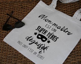 Bag cotton canvas, my master is a super hero tote bag master gift
