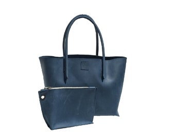 Big leather bag shopping bag with zipper pocket shopper used look leather