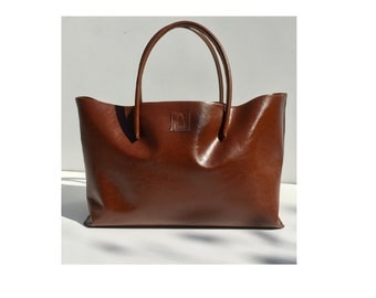 Big leather bag for big purchase XXL Leather shopper Bag Shopper Cognac used look handmade