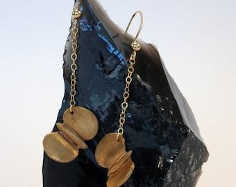 butterfly earrings handmade in bronze