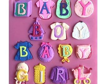 Baby alphabet silicone mold baby boy girl