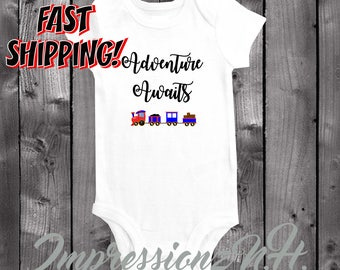 Adventure Awaits - train onesie - cute train, baby bodysuit,  one-piece shirt