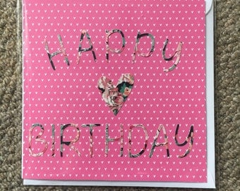 "Happy birthday card- pink- 6"" blank inside"