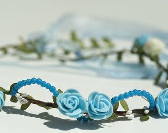 Model white turquoise beaded flower Crown