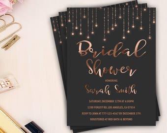 rose gold bridal shower invitation, blush bridal shower invitation, printable invite, gold foil, chic bridal shower invite, bridal brunch