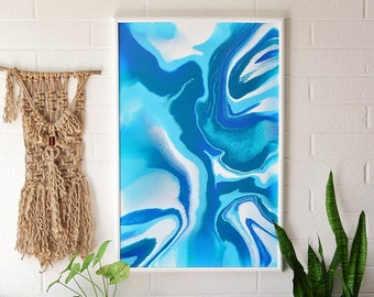 "Original Art - Abstract Ocean Blues Resin Painting on Canvas - 24""x36"""