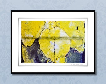 Fine art photography, 30x40 cm lemon art print, modern giclee print, abstract botanical art, yellow and blue, kitchen wall art, home decor