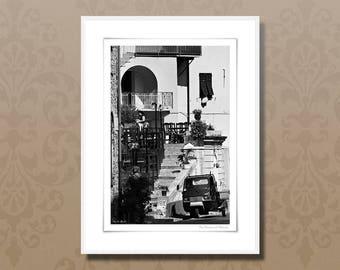Fine art photography, 24x32 cm black and white art print, italian street cafe, italy framed wall art, italy lifestyle, italian home decor