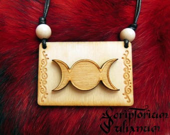 Wooden Triple Moon Goddess necklace, wiccan witchy pendant, pagan jewelry, pagan gift, pentagram, wicca, witchcraft, Ostara gift