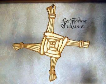 Brigid's Cross, Imbolc ornament, wooden Brigids cross hanging, Wicca altar, Imbolc decor, Wiccan decor, Brigid's cross wall art, Imbolc gift