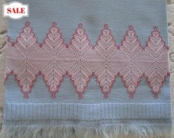 Vintage Guest Towel Blue Cotton With Pink Swedish Huck Embroidery, Vintage Guest Towel, Cottage Chic Hand Towel, Blue & Pink  Towel