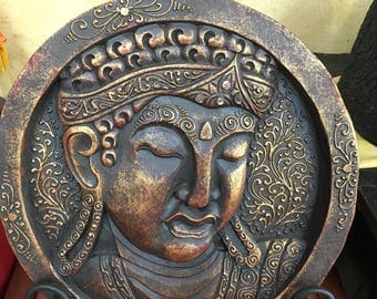 Wooden Face Siddhartha Gautum Buddha with Iron Stand