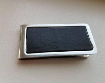 Silver Tone and Black Leather Money Clip