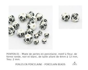 Mixte de Perles en porcelaine, motif à fleur, de forme ronde, noir et blanc, de taille allant de 6mm à 12 mm, Trou: 2 mm.
