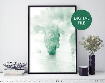Khao Phing Kan, James Bond Island, Phuket, Thailand Watercolour Print Wall Art | Print At Home | Digital Download File