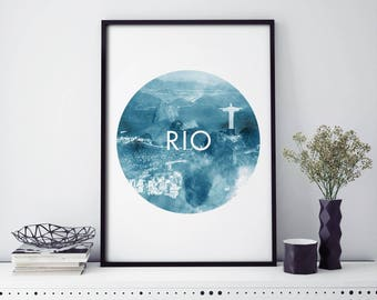 Rio de Janeiro, Brazil Watercolour Print Wall Art | 4x6 5x7 A4 A3 A2