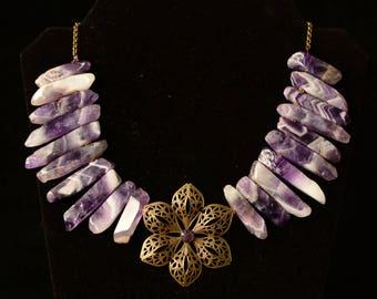 Bronze Amethyst big purple flower necklace Flower necklace