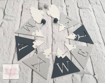 Personalised Wooden Mountain and Cloud Bunting, Bedroom / Nursery Decor, mountain banner, mountain garland