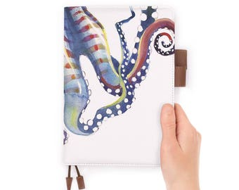 personalized leather journal refillable notebook diary A5 leather cover octupus