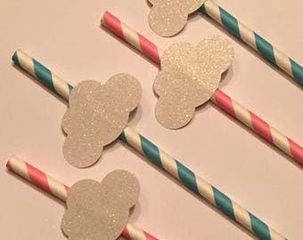 12 White Glitter Cloud Party Straws White Cloud Straws Baby Shower Straws Gender Reveal Straws Birthday Straws Blue Straws Pink Straws