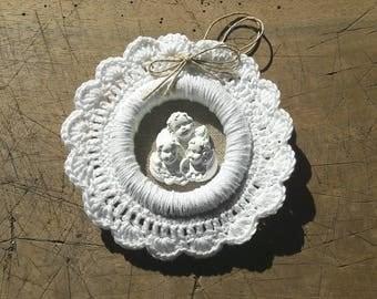 Cherub wall decor framed lace