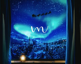 Christmas -Window Santa Moon- Digital Background