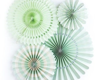 Mint Party Fan Set / Mint Fans / Party Fans / Paper Fans / Mint Green