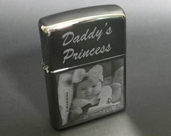 Photo Engraved Zippo Lighter with Free Text - Great Idea on High Polish Black Ice 150 Zippo - Customized -