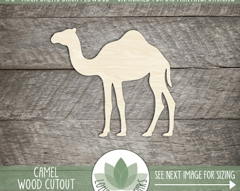 Camel Wood Cut Shape, Unfinished Wooden Camel Laser Cut Shape, DIY Craft Supply, Many Size Options