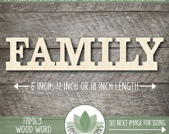 Family Wood Word Sign, Laser Cut Uppercase Letter Wooden Words, Wall Gallery Word Art, Home Decor Family Sign, Wood Words