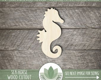 Wood Sea Horse Shape, Unfinished Wood Sea Horse Laser Cut Shape, DIY Craft Supply, Many Size Options