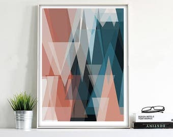 Triangles Art Geometric Print Scandinavian Print 24x36 Nordic Art Large Print Geometric Art Triangle Art Print Abstract Print Digital Prints