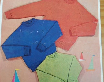 Vintage knitting pattern for child's crew neck raglan sweater in six sizes from 2 - 12 years